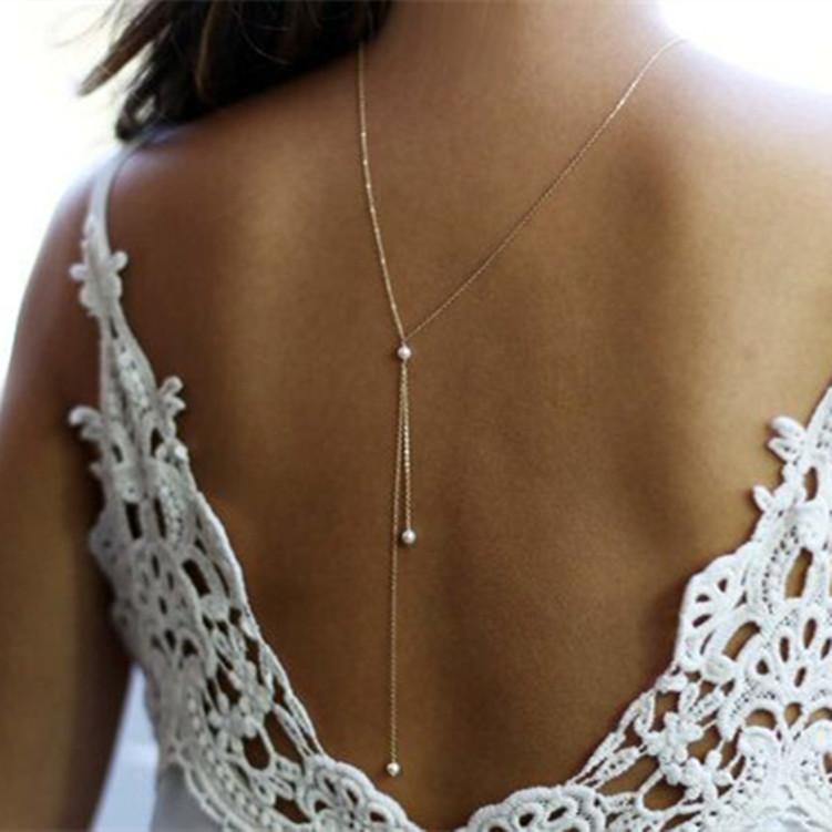 轻奢身体链后背链欧美风女简约气质新款项饰百搭性感珍珠项链饰品