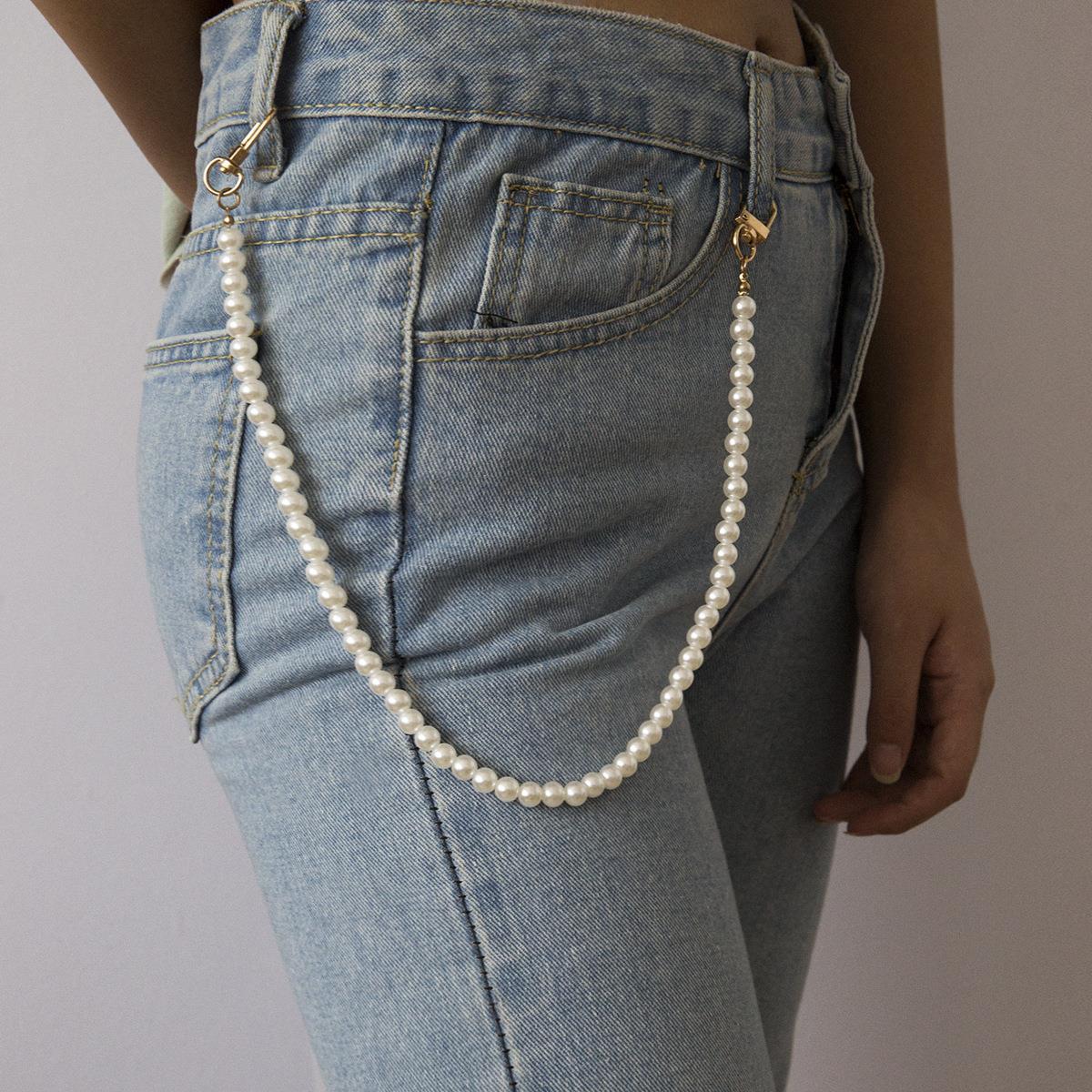 欧美跨境饰品 个性几何手工圆珠身体链女 复古时尚百搭仿珍珠腰链