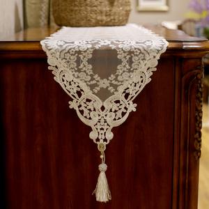 beautydream欧式蕾丝刺绣浪漫餐桌旗 米色茶几桌旗桌布电视柜盖巾
