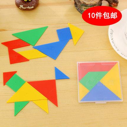 银河星小学生七巧板 智力拼图拼板 儿童益智玩具 塑料七巧板盒装