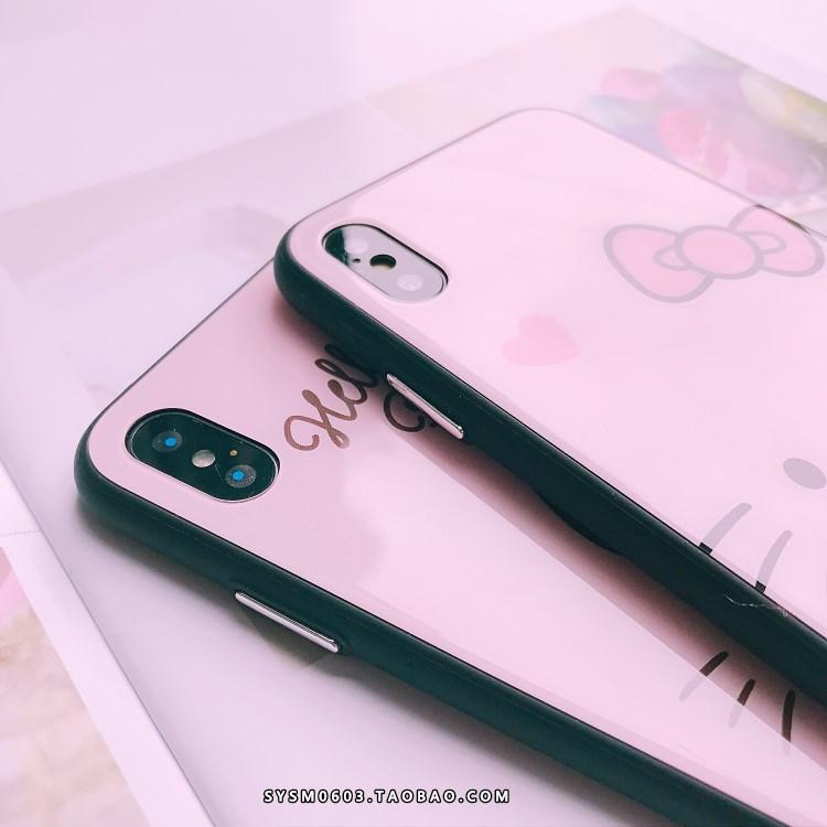 可爱卡通蝴蝶结猫iPhone7/8/X玻璃手机壳苹果6sp镜面外壳6s挂绳女
