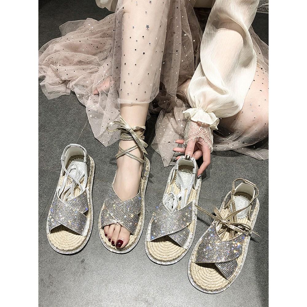 夏季新款亮钻鞋女交叉凉鞋脚链式露趾绑带亚麻平底鞋女鞋潮