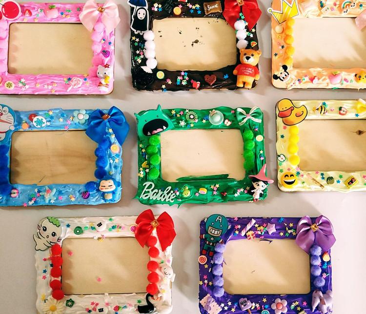 Creative gift cream glue childrens Handmade material bag DIY photo frame kindergarten Puzzle Set Girl