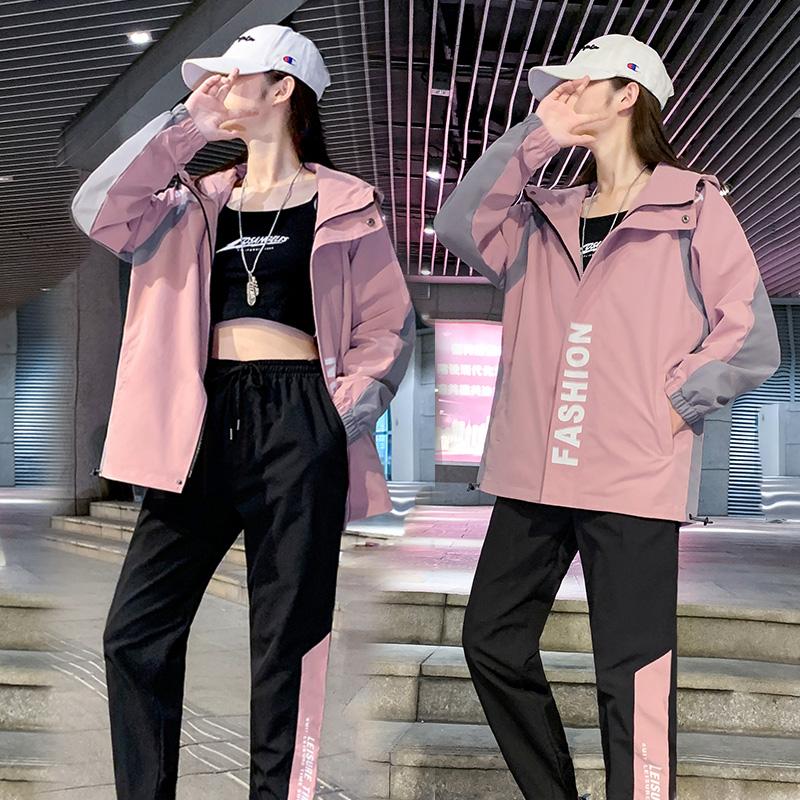 连帽外套女2021春秋新款韩版百搭休闲夹克潮牌宽松显瘦运动服上衣
