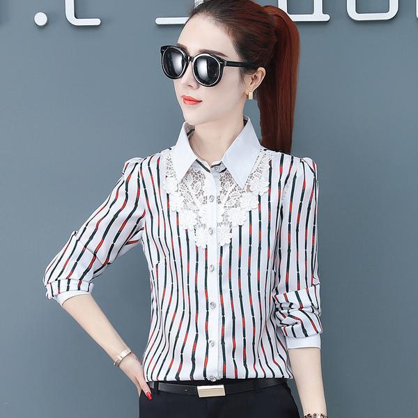 KTY10497#蕾丝雪纺衫衬衫女2020春夏新款韩版显瘦长袖打底女很仙的...
