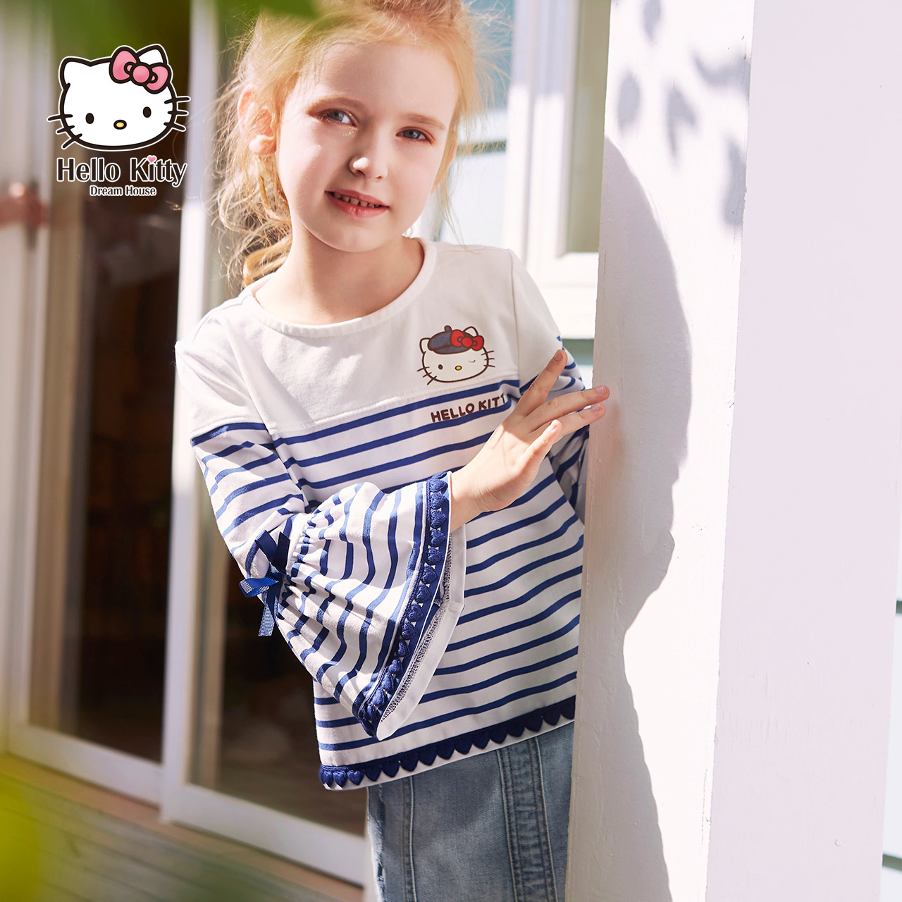 Hello Kitty children's wear 2020 spring new girls' T-shirt base coat children's stripe top spring and Autumn