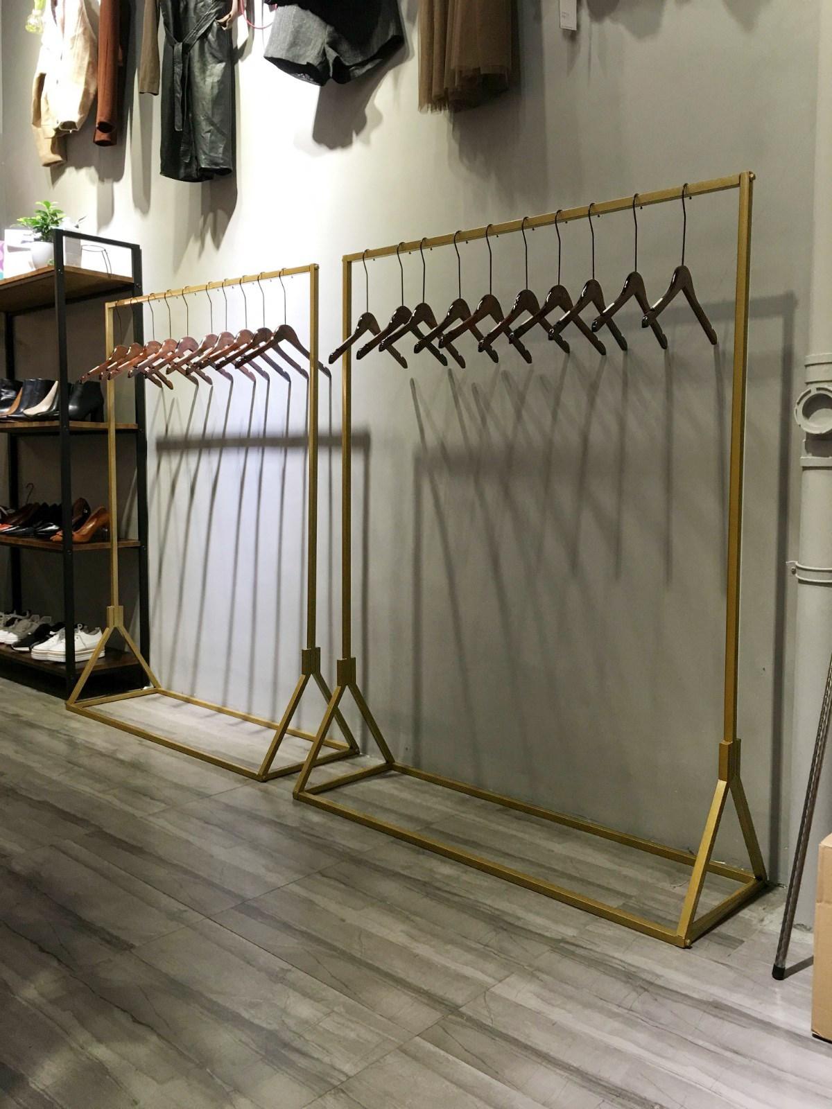 高档金色服装店展示架婚纱架女装店衣架货架落地式童装架侧挂架
