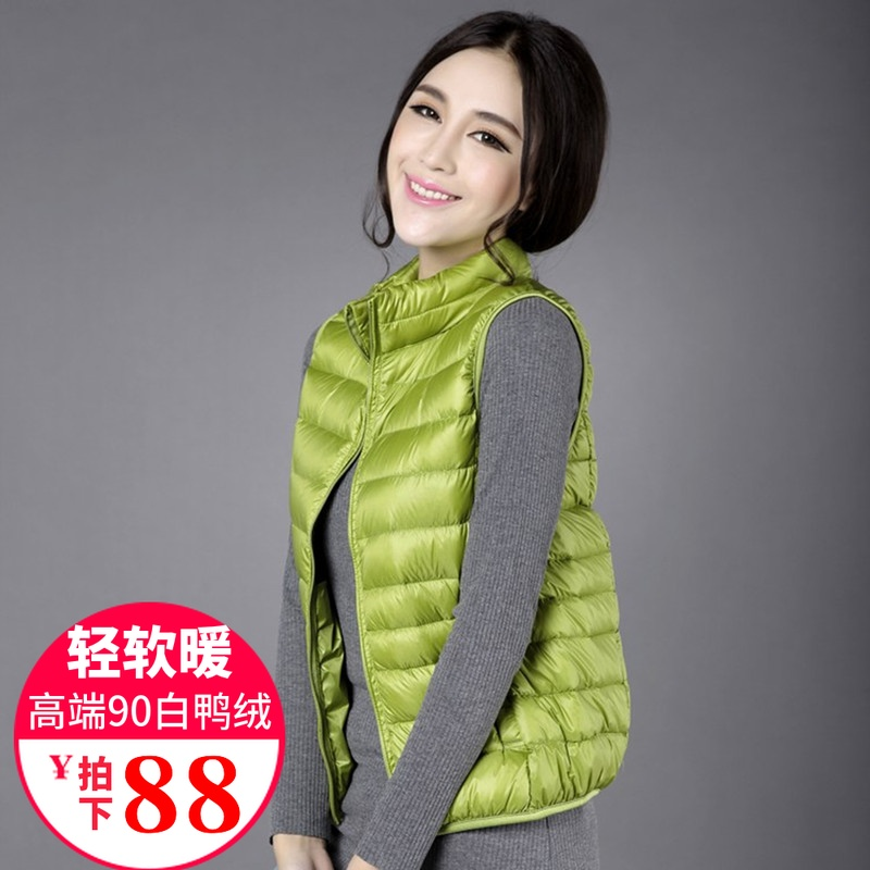 Womens down vest in autumn and winter short, light and large, slim and warm waistcoat, waistcoat, casual waistcoat and down jacket