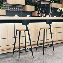 复古酒吧椅吧台椅现代简约欧式高脚椅子实木铁艺桌椅高脚凳吧台椅