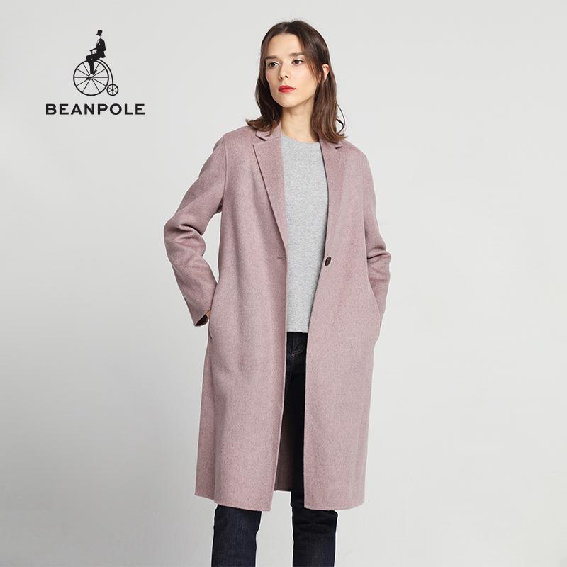 BEANPOLE滨波秋冬时尚潮流单色优雅女士经典款羊毛羊绒大衣外套