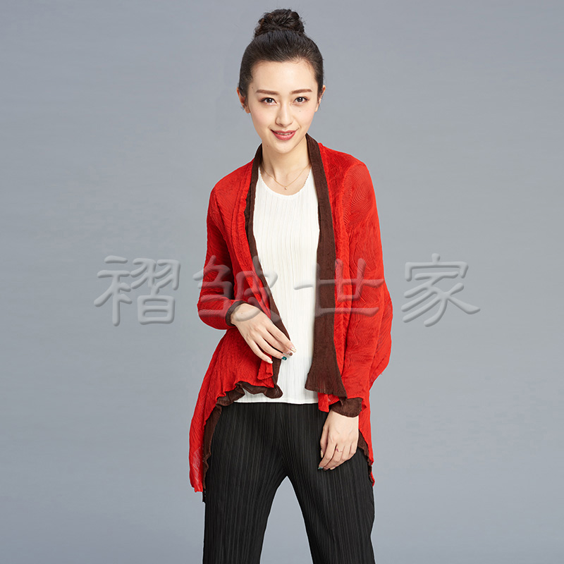 Qing Cang special price spring and autumn womens three house pleated top irregular thin shawl random wrinkle coat wear cardigan on both sides