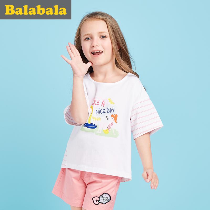 巴拉巴拉女童短袖t恤中大童上衣半袖2017夏裝 兒童體恤女