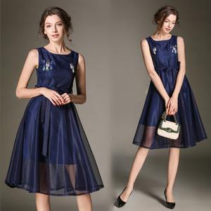 TS4751#新款欧美无袖网纱大摆裙手工钉珠亮片中长款收腰连衣裙