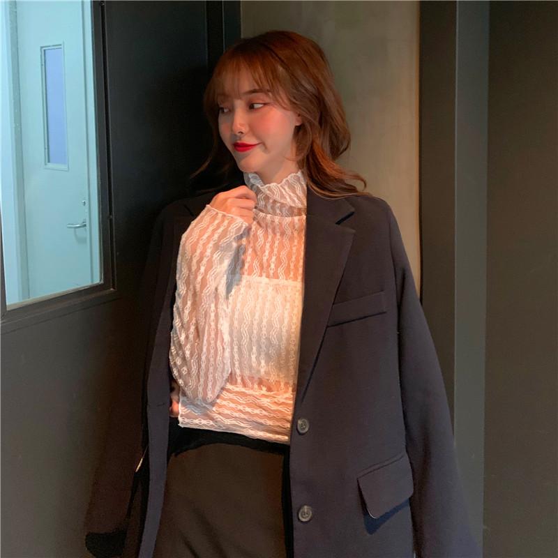 實拍實價~半高領鏤空透視洋氣超仙內搭網紗蕾絲打底衫6250#