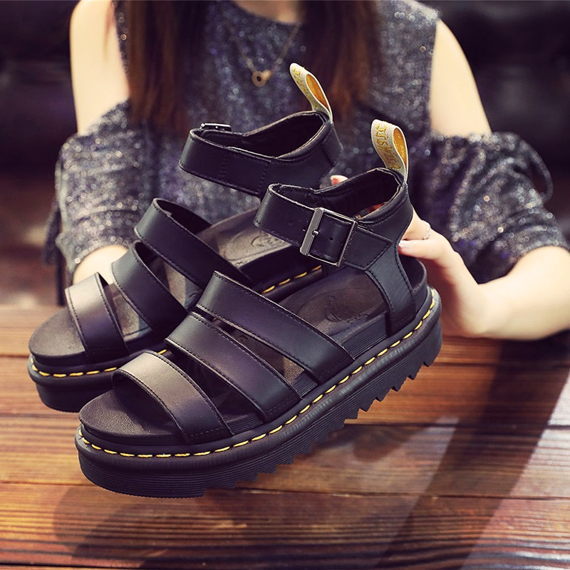 Fashion casual high top Roman sandals womens shoes leather Martin shoes doctor Blaire thick bottom high buckle summer