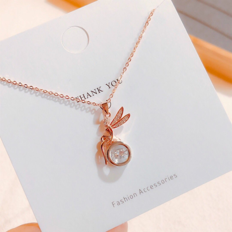Hong Kong Zhengsheng silver S925 Angel smart Necklace womens heart beat personality identification of anti allergy delivery of clavicle chain