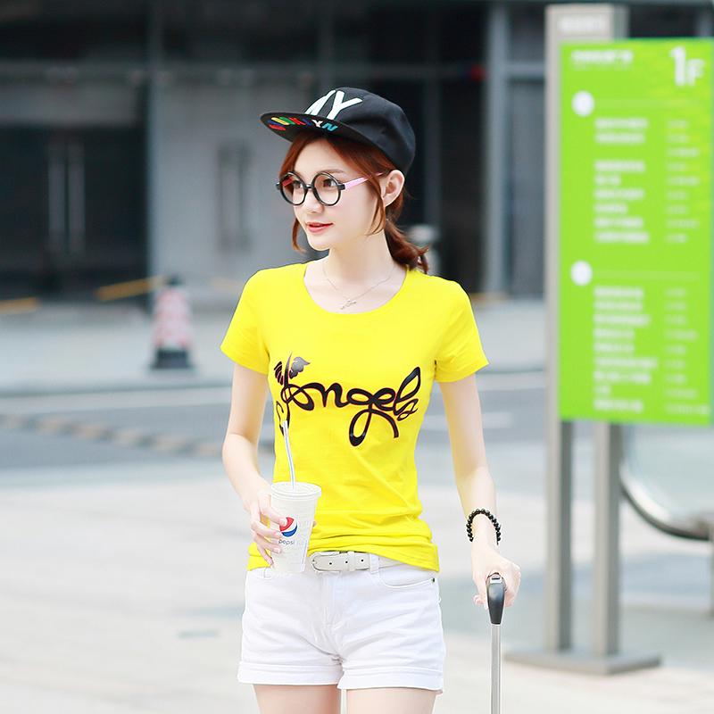 2018夏装新款韩版纯棉t恤女短袖圆领修身印花上衣百搭简约打底衫
