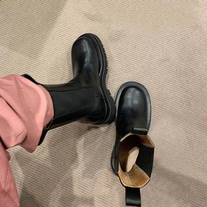 ANN BV切尔西短靴女冬加绒英伦风真皮厚底网红瘦瘦中筒港味马丁靴