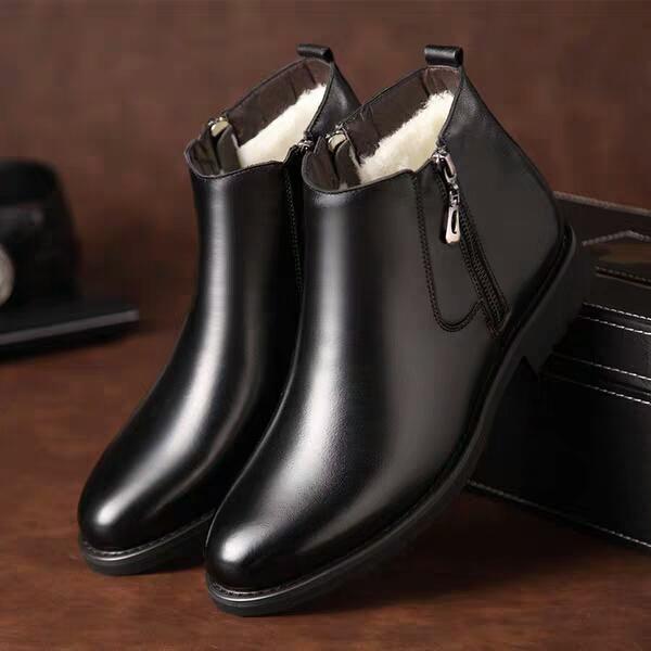 冬の季節はチェルシー男子靴ウール靴本革雪靴紳士カジュアル靴マーティンブーツ