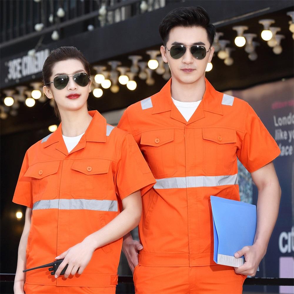 煤矿石矿井底作业员工作服夏季短袖工程服桔色双反光条环卫工套装