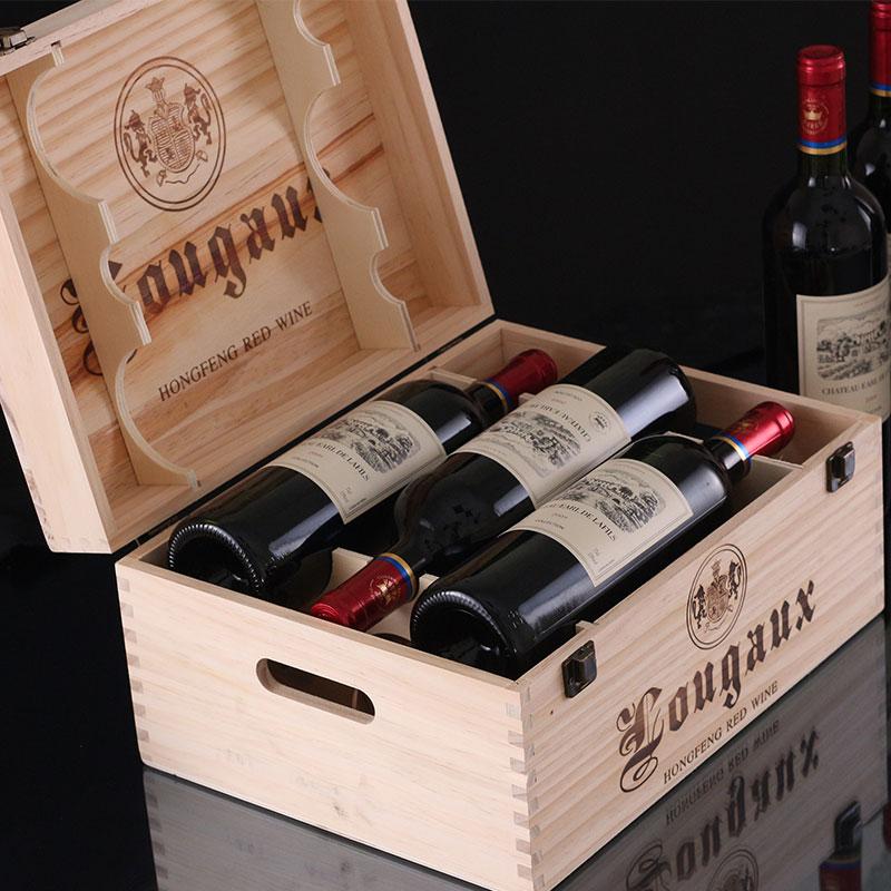 法国进口红酒整箱6支装木箱礼盒拉菲庄园深圳酒业运营干红葡萄酒