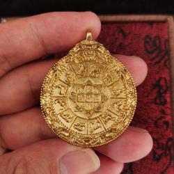 開光九宫八卦牌纯铜吊坠黄铜红铜尼泊尔十二生肖铜牌挂坠佛教用品