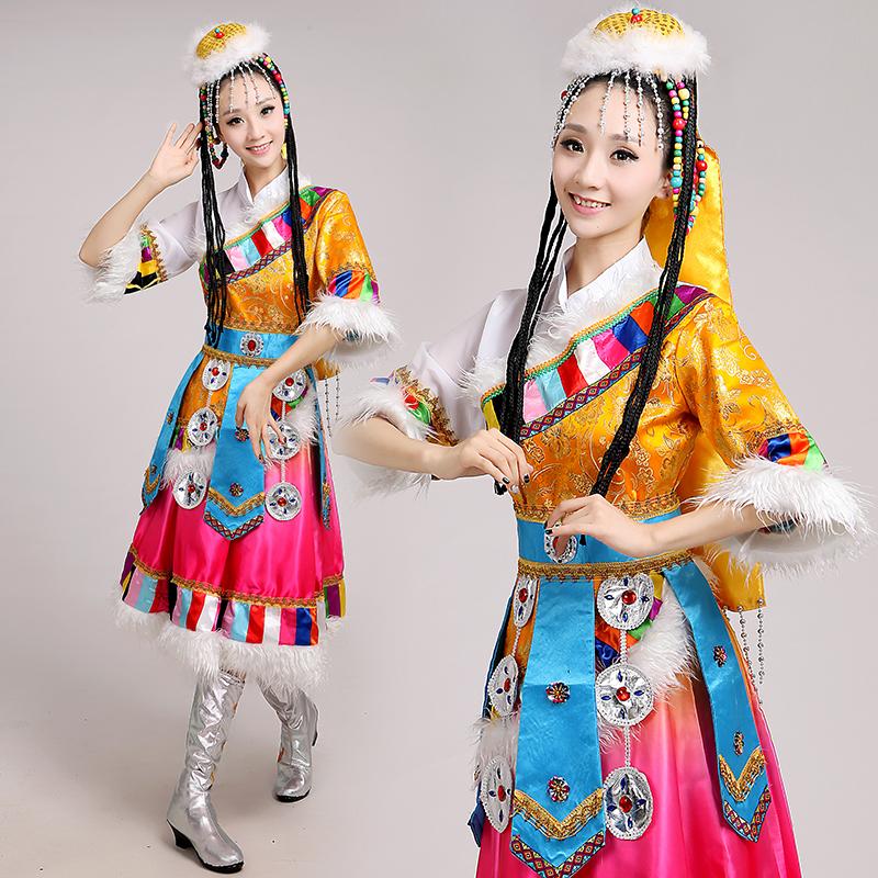新款女装藏族舞蹈服装水袖演出服成人少数民族裙袍表演服西藏服饰