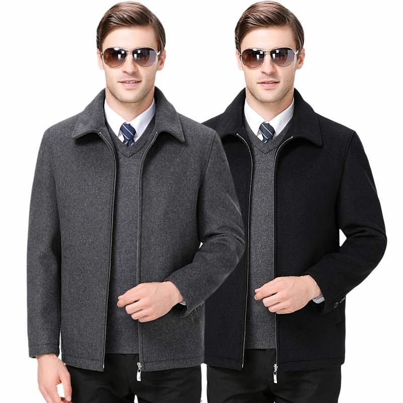 Autumn and winter wool coat mens cashmere coat loose size middle-aged and old dads Plush jacket