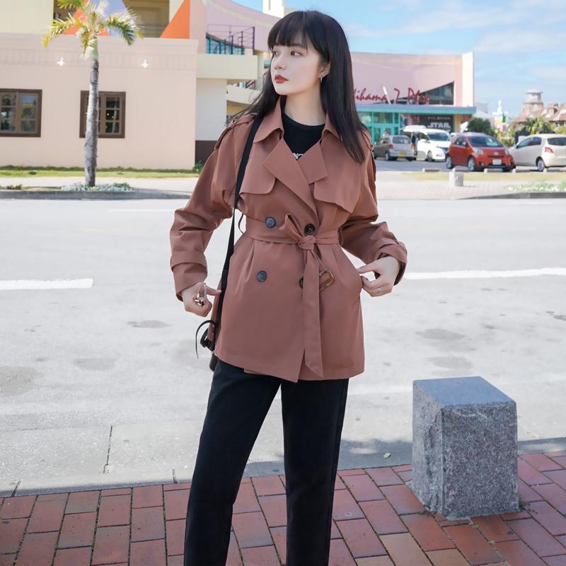 短款风衣女小个子矮中款显高春秋装韩版宽松休闲胖mm大码显瘦外套