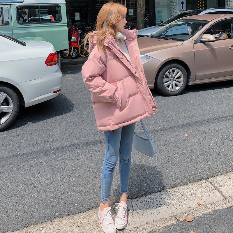 粉色羽绒棉服女短款棉袄冬季韩版宽松面包服小个子中长款棉衣外套
