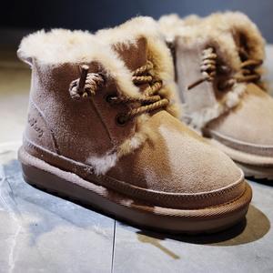 韩国儿童雪地靴皮毛一体女童男童短靴真皮2019新款冬季小童百搭潮