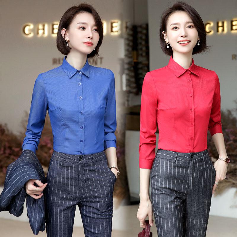长袖棉质女装修身衬衫 通勤OL百搭工作服女士精品单排扣纯色衬衣