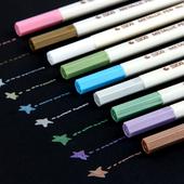 婷趣 diy手工相册制作涂鸦书写水粉笔黑卡白卡通用金属笔