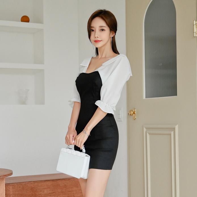 [Korea buy] dress 2021 spring and summer stitching open back bow high waist buttocks Slim Pencil Skirt