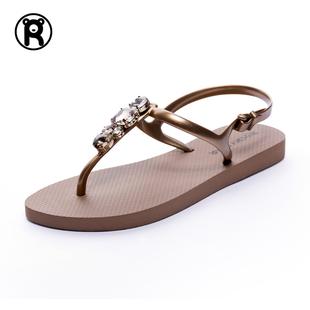 SD07凉鞋女夏2020新款夹脚夹趾度假沙滩平底时尚水钻百搭防滑凉鞋