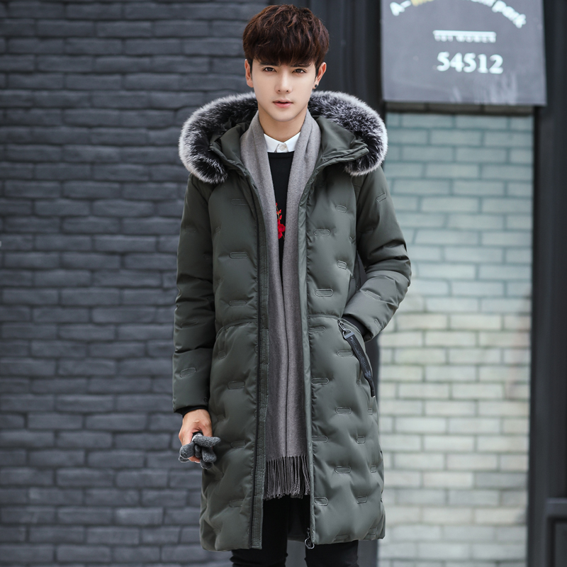 Off season clearance down jacket mens mid long big collar over knee thickening Korean slim fit fashion mens winter fashion
