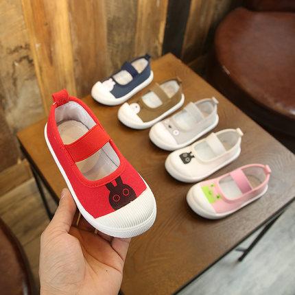 帆布鞋童鞋宝宝鞋男童鞋子白色板鞋休闲女童鞋一脚蹬春校园小白鞋