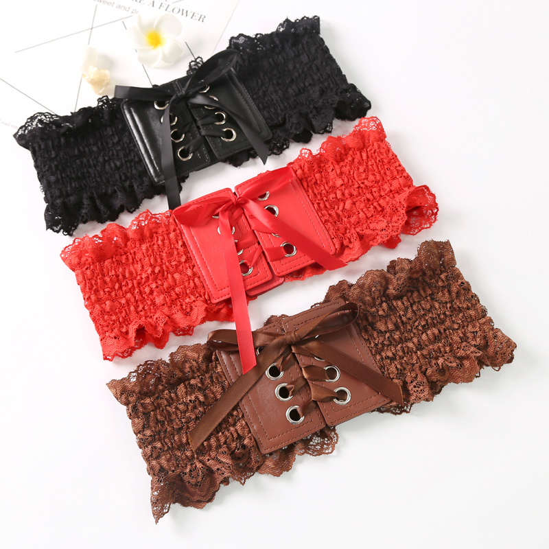 Waistband womens decorative lace with skirt elastic wide elastic corset ins red belt chic belt shirt versatile