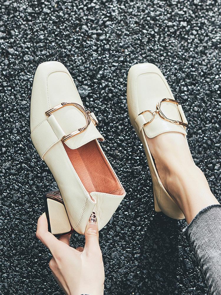 粗跟单鞋女2019新款春季方头高跟鞋百搭中跟乐福鞋复古英伦小皮鞋