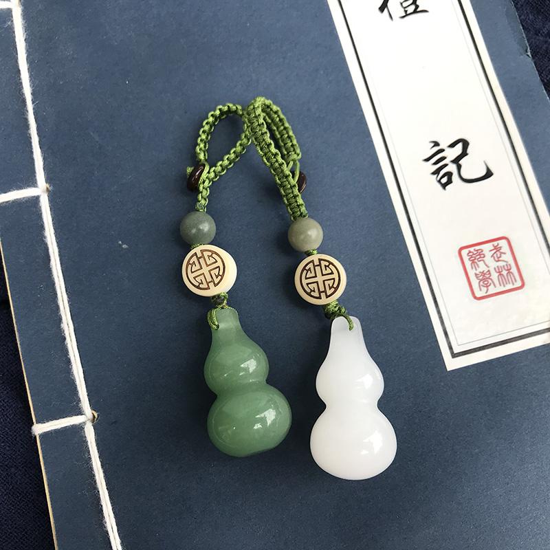 新款东陵玉葫芦玉石挂坠葫芦汽车钥匙扣金丝玉钥匙扣绿色葫芦挂件
