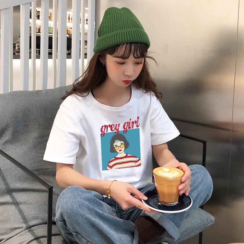 夏季新款短袖T恤女纯棉圆领印花上衣学生韩版宽松ins网红款女生潮图片