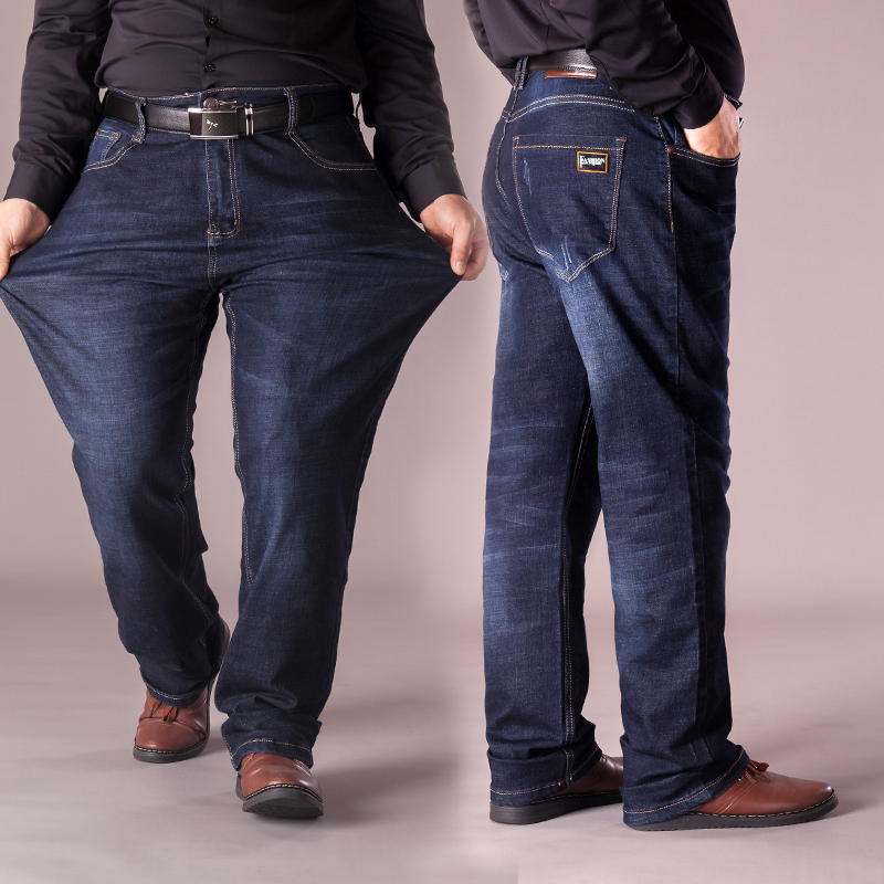 Autumn and winter mens jeans pants high waist straight tube 300 kg, middle-aged and old peoples father is loose, fat and big