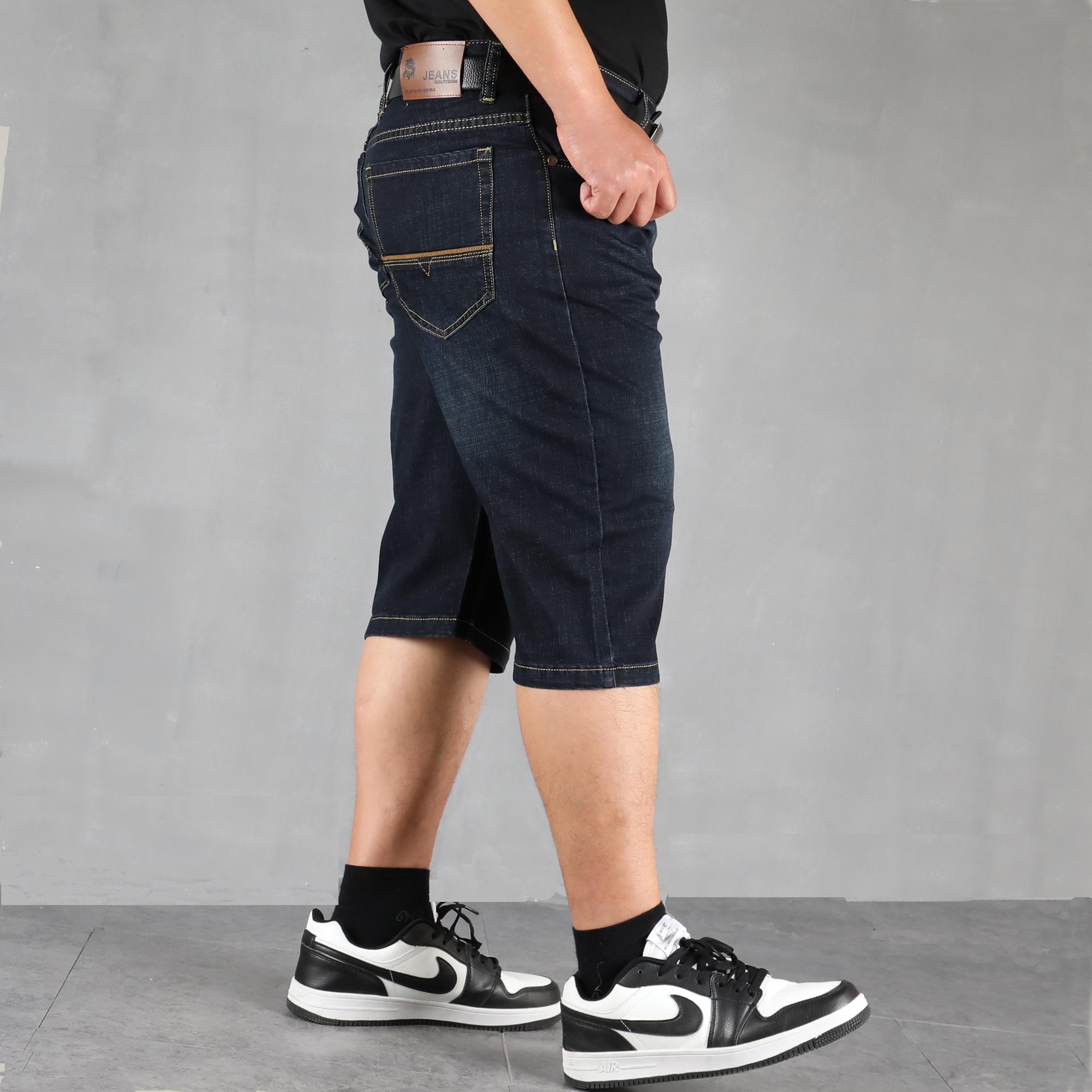 夏季薄款直筒弹力大码高腰牛仔短裤男加肥加大宽松肥佬七分裤胖子