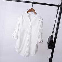棉麻白色衬衫女长袖2020夏新款韩版宽松休闲百搭中长款休闲衬衣