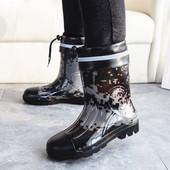 秋冬男士雨鞋马丁迷彩短筒雨靴中筒加绒棉户外钓鱼防滑防水鞋胶鞋