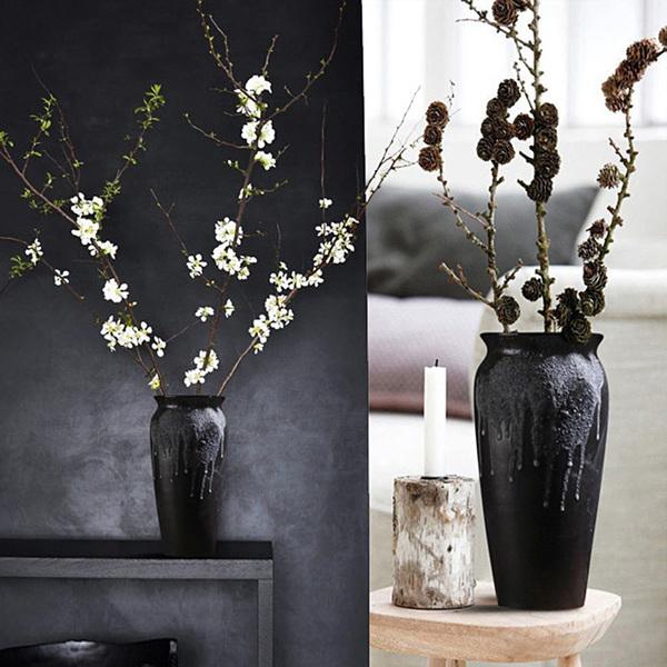 景德镇粗陶花瓶插花器 手工做旧复古黑陶陶罐瓷器花瓶客厅摆件