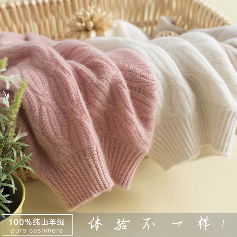 New autumn / winter half high collar cashmere sweater for womens thickened double ply pure cashmere fashionable button knit sweater