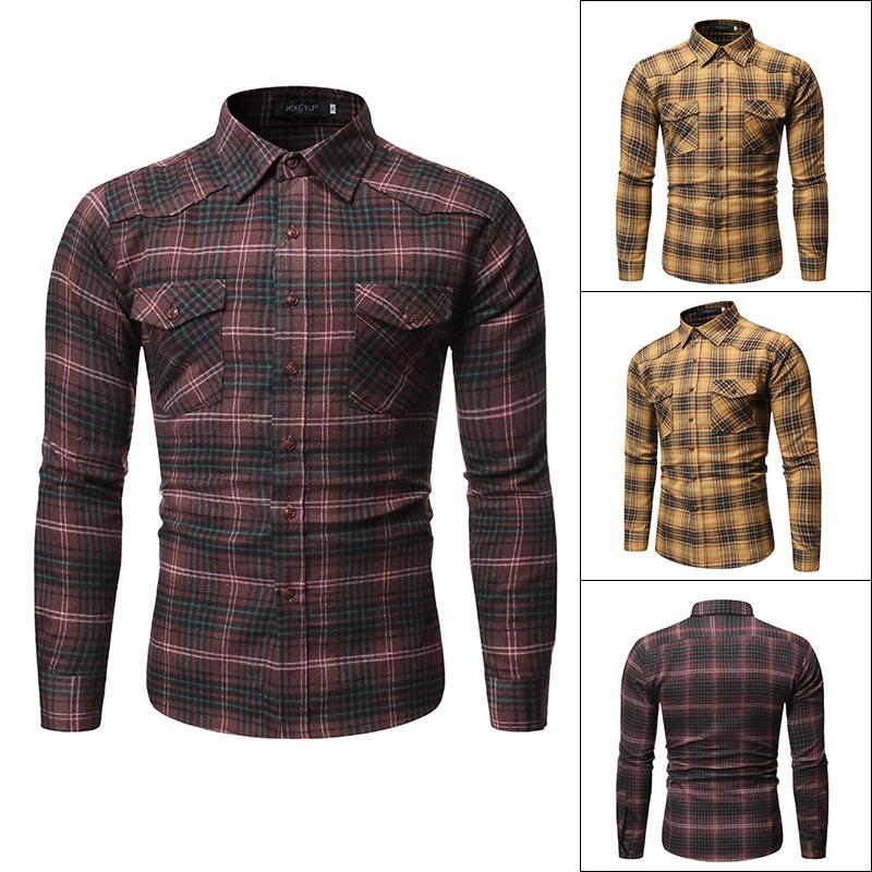 新款外贸男装休闲格子翻领男士长袖衬衫单口袋大尺码开衫CS05-P30