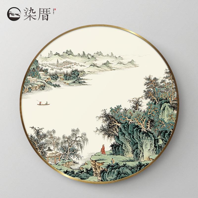 新中式国画禅意圆形玄关山水画风水靠山招财客厅装饰画中国壁画