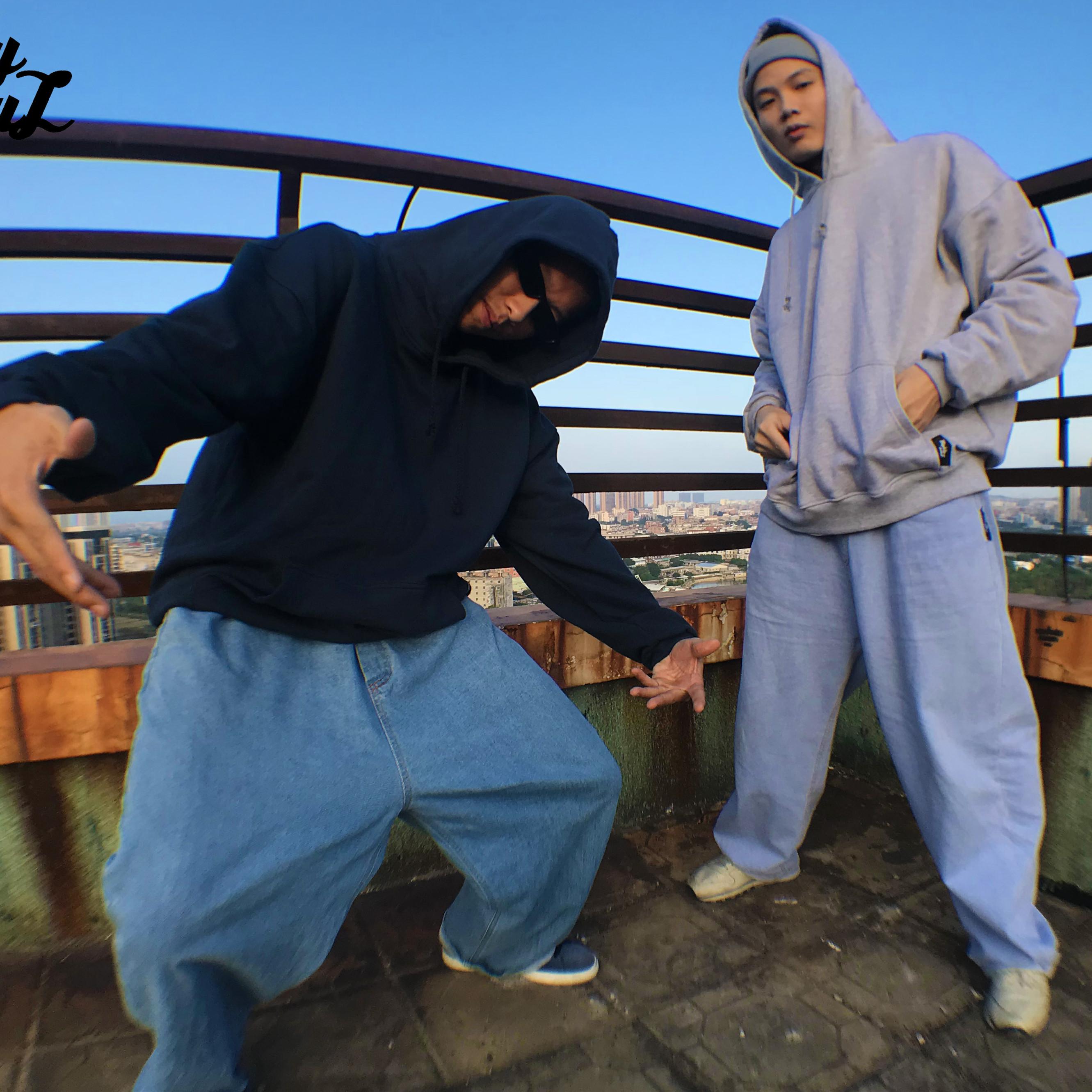 oldschool纯色打底卫衣说唱hiphop加大加宽基础款bboy复古街头型图片